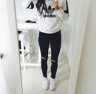 sweater white black jumper adidas girl white sweater jeans shoes