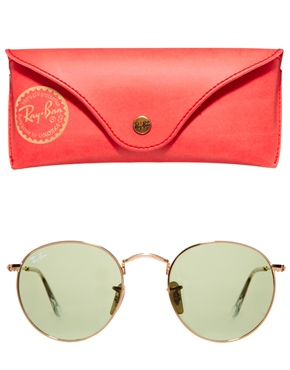 Ray-Ban | Ray-Ban Crystal Green Round Sunglasses at ASOS