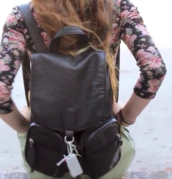 bag tumblr backpack black blouse leather backpack