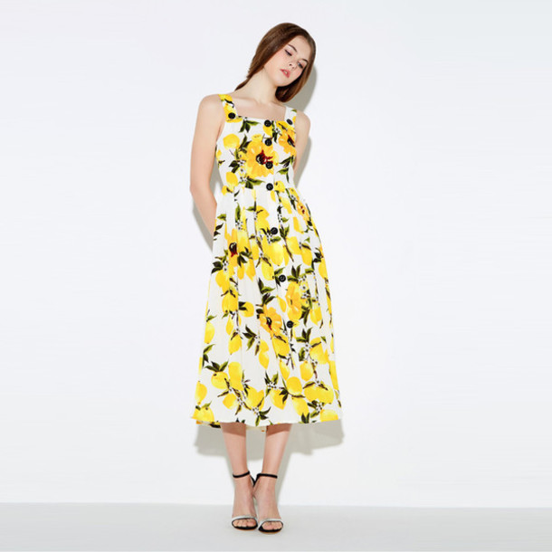 07151b2a0200 dress lemon dress maxi dress midi dress long dress print dress a line dress