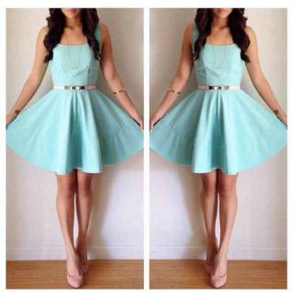 dress blue dress skater dress cute dress silver belt
