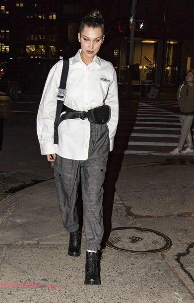shirt pants streetstyle fall outfits white shirt bella hadid model off-duty