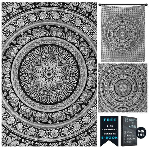 Black and White Elephant Hippie Mandala Tapestry