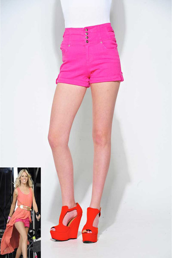 Womens Carly High Waisted Shorts in Fuchsia | Pop Couture