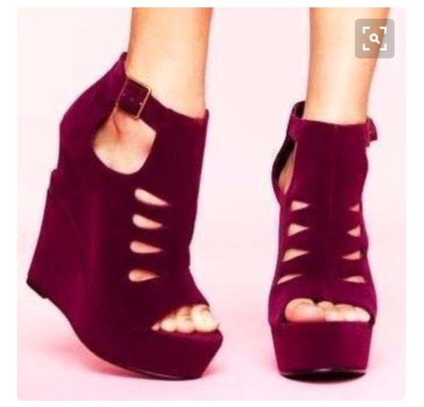 shoes maroon burgundy wedges heels prom shoes a17464aae