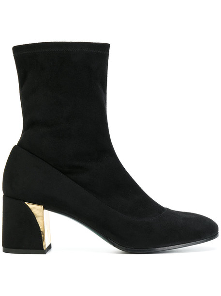 Fabi women ankle boots leather suede black shoes