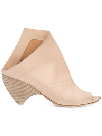 open women mules leather nude shoes