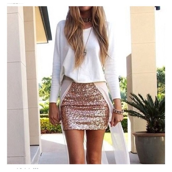 gold sequins skirt sequin skirt sweater