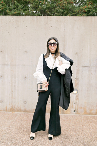 styleofsam blogger top jumpsuit jewels coat bag sunglasses make-up white blouse blouse black jumpsuit chanel bag chanel