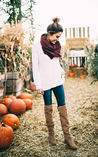 hello fashion blogger scarf fall outfits suede boots flat boots white sweater