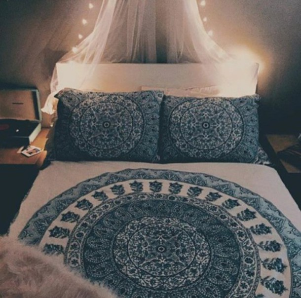 Home accessory: mandala, bedding, hippie, tumblr bedroom ...