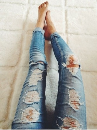 jeans tumblr blue blue jeans ripped jeans