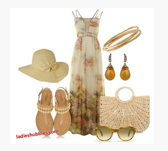 dress long dress maxi dress summer dress beach dress natural waist spaghetti strap double straps light floral floral pattern earrings bag purse whicker bag shoes sandals hat sun hat sunglasses cream dress clothes outfit