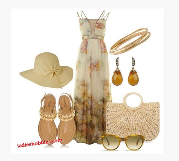 dress summer dress clothes bag shoes cream dress long dress floral purse earrings outfit maxi dress beach dress natural waist spaghetti strap double straps light floral pattern whicker bag sandals hat beach hat sunglasses