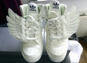 shoes,wings shoes,adidas wings,adidas jeremy scott,adidas,angel wings,wings,jeremy scott,white shoes,sneakers,white,cute,beautiful,angel,high top sneakers,kicks