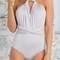 Gray multi ways twist detail open back bodysuit