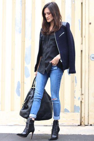 frankie hearts fashion blogger jacket shirt jeans shoes bag