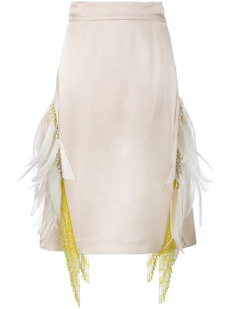 Prada skirt women embellished beaded nude