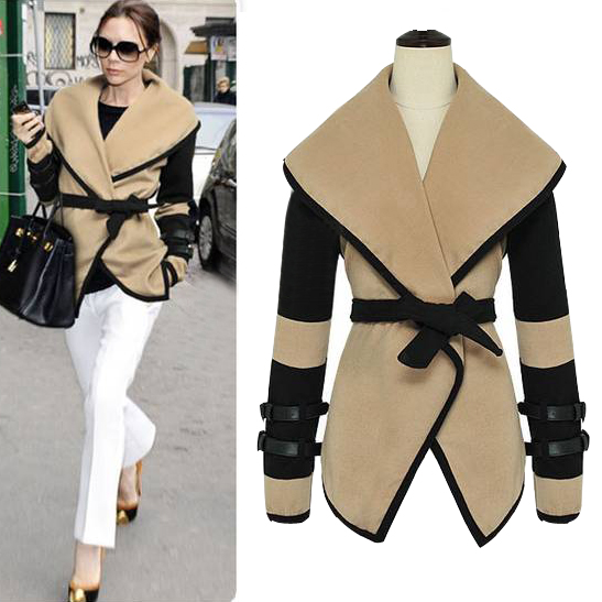 Cheap Wool Blends Vogue Spice Girl Victoria Coats Large Lapel Shawls Coat