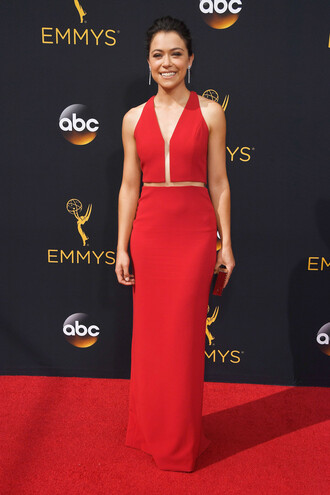 dress gown red dress red carpet dress red prom dress emmys 2016 tatiana maslany