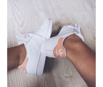 shoes adidas superstars adidas adidas originals superstar tennis shoes light pink white white shoes pink pink shoes stan smith peach pastel nude beige baby pink amazing trainers trendy fashionista tumblr rose originals grey blouse adidas shoes pink adidas superstars