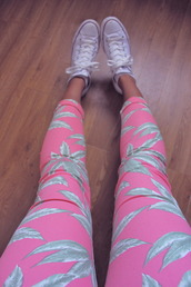 pants,printed leggings,pink,shoes,palm tree print,skinny pants,coral,jeans,marijuana,fashion,pastel,leaves,weed,green,cute