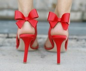 bow,heels,red shoes,red sandals,red high heel sandals,shoes
