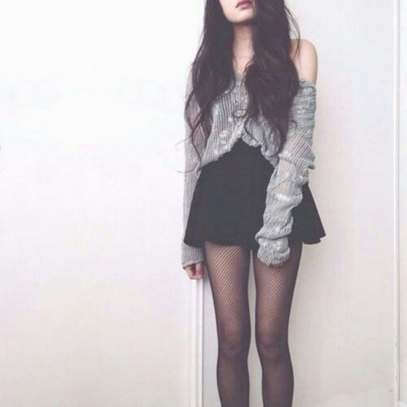 skirt grey cardigan grunge Half Top white