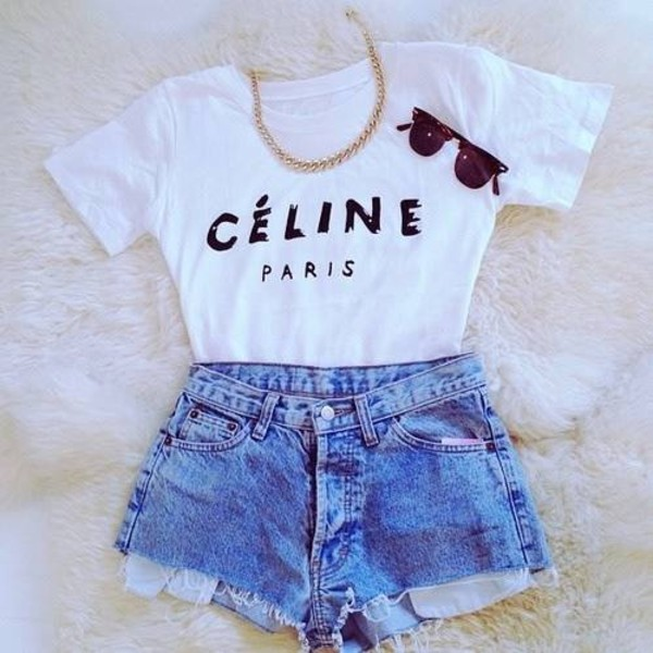 shirt celine paris shirt High waisted shorts necklace glasses sunglasses shorts jeans gold chain celine paris top black white sun summer funny cute tan blonde hair brunette denim vintage acid wash gold chain jewels blu t-shirt amazing clothes beautiful blouse celine white celine paris white top white t-shirt celine paris tshirt