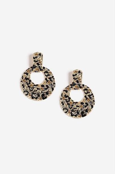 TopShop Leopard Drop Rhinestone Earrings - Brown