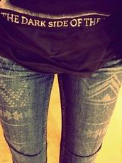 jeans,pants,aztec