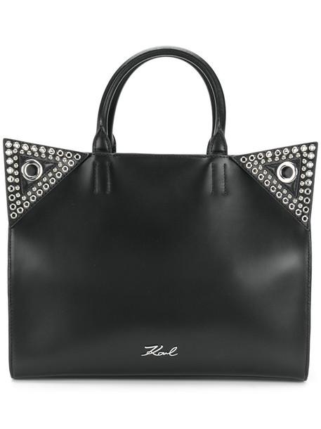 karl lagerfeld women leather black bag