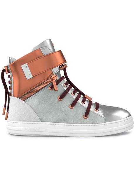 SWEAR women sneakers leather suede grey metallic shoes