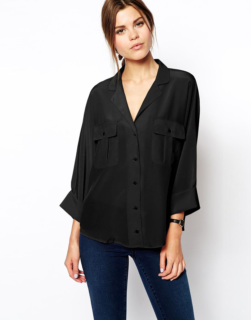 ASOS Blouse With Double Pockets And Batwing Sleeves at asos.com