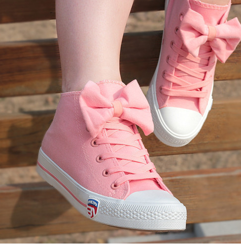 Sweet bow canvas shoes