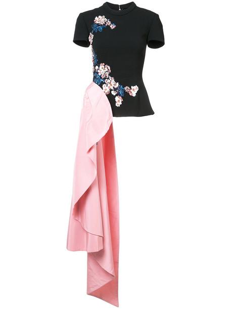 Oscar de la Renta - embellished asymmetric blouse - women - Silk/Nylon/Polyester/Virgin Wool - 6, Black, Silk/Nylon/Polyester/Virgin Wool