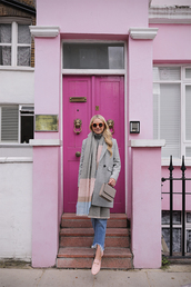 coat,tumblr,grey coat,scarf,knitted scarf,denim,jeans,blue jeans,sunglasses,shoes,loafers,pink shoes