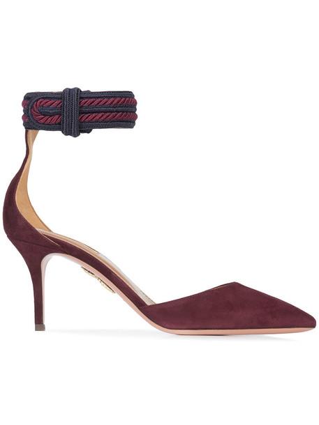 Aquazzura women pumps leather nude suede shoes