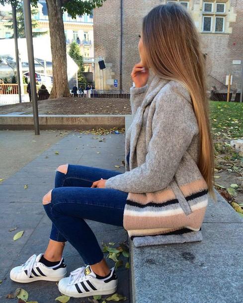 Coat tumblr grey coat stripes denim jeans skinny jeans ripped jeans sneakers low top ...