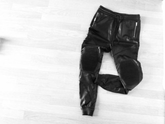pants black leather black leather joggers