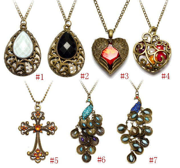 Vintage bronze peacock heart cross drop pendant sweater necklace free shipping