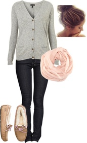 shoes,clothes,jeans,skiny jeans,dark blue jeans,sweater,grey sweater,button up,cardigan,gary,buttons,jacket,grey,pink