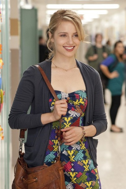 dress multi-colored brown bag leather dianna agron Glee