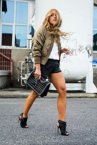 jacket white shirt green bomber jacket black skirt black cutout heels blogger