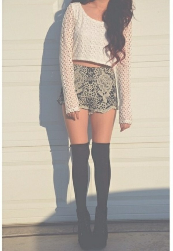 shorts High waisted shorts knee high socks cute sweaters long sleeves white black brown sweater knit knitted sweater flowers flower shorts summer summer time hat scarf pants shirt