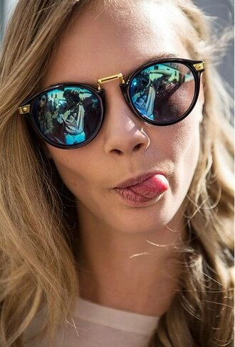 sunglasses cara delevingne gold black pretty swag funny model round frame glasses cute mirrored sunglasses polarized sunglasses