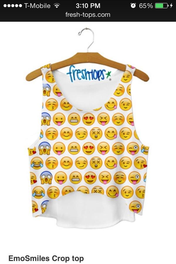 shirt emoji print iphone whatsapp emoji emoji crop top emoji print emoji shirt blouse blanca con emojis