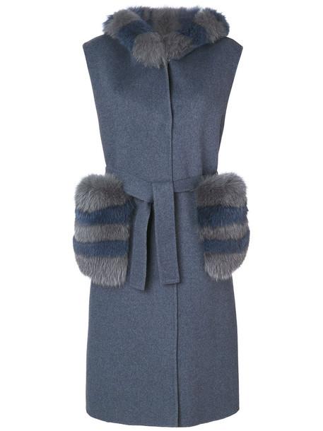 Liska coat sleeveless coat sleeveless fur fox women blue wool