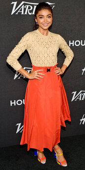 shoes,top,lace,sarah hyland,midi skirt,red,celebrity style