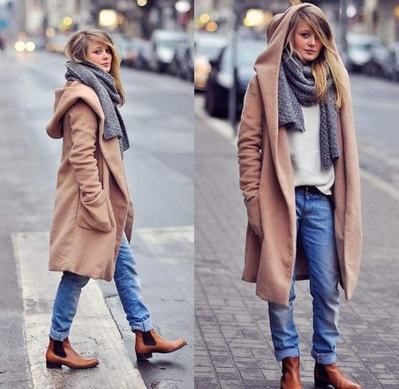 winter outfits coat clothes winter coat beige scarf chelsea boots